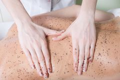 Woman getting a chocolate massage at spa Royalty Free Stock Photography