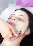 Woman getting a facial with cream Stock Photography