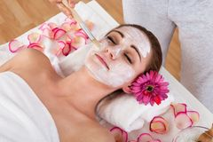Woman getting facial mask at spa studio Stock Photos