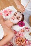 Woman getting facial mask at spa studio Royalty Free Stock Images