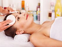 Woman getting  facial massage . Royalty Free Stock Photo