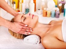 Woman getting  facial massage . Royalty Free Stock Image