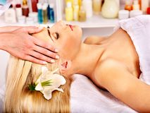 Woman getting  facial massage . Stock Images