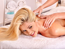 Woman getting  facial massage Stock Photo