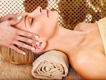 Woman getting  facial massage . Royalty Free Stock Photos