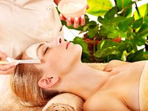 Woman getting  facial massage . Royalty Free Stock Images