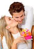 Woman getting a gift Royalty Free Stock Photo