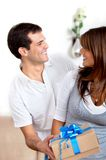 Woman getting a gift Stock Images