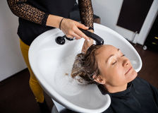 Woman Getting Hair Washed In Salon Royalty Free Stock Images