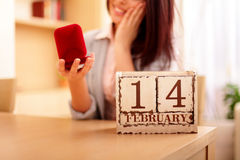 Woman getting her present on valentine's day Stock Photography