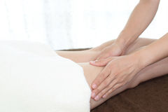 Woman getting leg massage Stock Photo