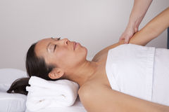 Woman getting massage Royalty Free Stock Images