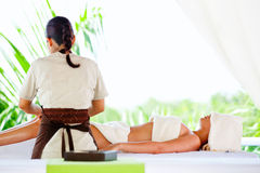 Woman getting a massage Royalty Free Stock Photos
