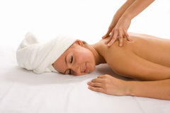 Woman getting a massage. Happy woman getting a massage Royalty Free Stock Photos