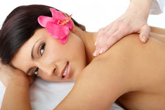 Woman getting a massage stock image