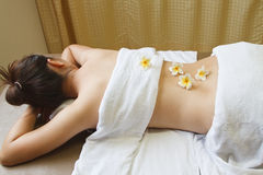 Woman getting a  massage at day spa Royalty Free Stock Image