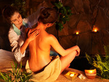 Woman getting massage in luxury spa. Royalty Free Stock Image