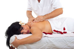 Woman getting massage at spa stock photography
