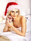 Woman getting massage in Xmas spa. Stock Photo