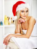 Woman getting massage in Xmas spa. Royalty Free Stock Image