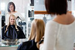Woman Getting a New Hairstyle Stock Photo