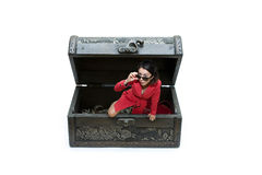 Woman getting out of jewelry box Royalty Free Stock Photo