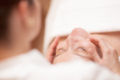 Woman getting professional facial massage Stock Photography