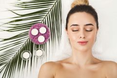 Woman getting professional facial massage at spa salon. Facial massage. Spa, resort, beauty and health concept. Beautiful woman getting professional face stock images
