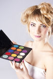Woman getting professional make up Royalty Free Stock Photos