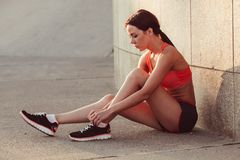 Woman getting ready for jogging Royalty Free Stock Photo
