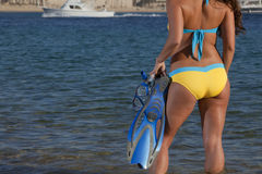 Woman getting ready to go snorkeling stock photos
