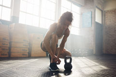 Woman getting ready to workout at the gym Royalty Free Stock Image