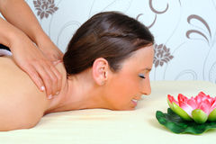 Woman getting relaxing  in beauty massage salon Royalty Free Stock Image