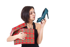 Woman getting shoes Royalty Free Stock Photo