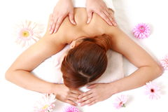 Woman getting a shoulder massage Royalty Free Stock Photography