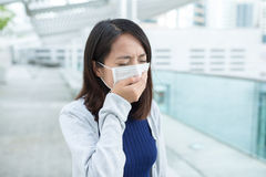 Woman getting sick at outdoor Royalty Free Stock Photo