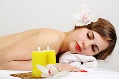 Woman getting spa. Beautiful woman getting spa , spa salon Stock Photography