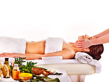 Woman getting spa head therapy . Stock Photo