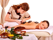 Woman getting spa lastone therapy outdoor Stock Photography
