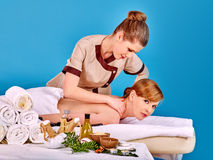 Woman getting spa lastone therapy outdoor Royalty Free Stock Image