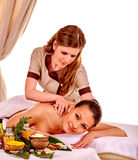 Woman getting spa lastone therapy outdoor Royalty Free Stock Photos