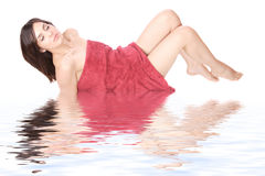 Woman getting spa treatment. Relaxing on water royalty free stock photos