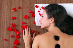 Woman getting spa treatment - closeup face Royalty Free Stock Photography
