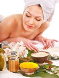 Woman getting spa treatment outdoor. Royalty Free Stock Photos