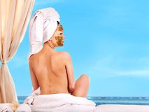 Woman getting spa treatment outdoor. Royalty Free Stock Photo