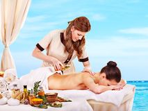 Woman getting spa treatment outdoor. Stock Image