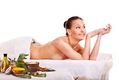 Woman getting spa treatment outdoor. Stock Photos