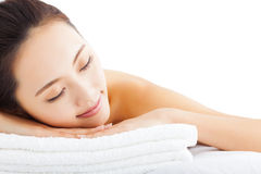 Free Woman Getting Spa Treatment Over White Background Royalty Free Stock Photo - 48604605