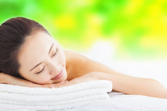 Woman getting spa treatment over white background Stock Photo