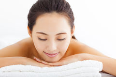 Woman getting spa treatment over white background Stock Photos